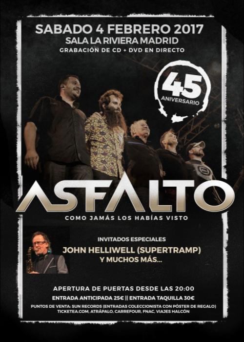 Cartel de Concierto de Asfalto en Madrid
