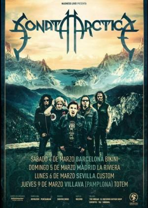 Cartel en baja resolución del Concierto de Sonata Arctica en Barcelona