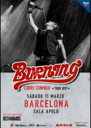 Cartel en baja resolución del Concierto de Burning en Barcelona