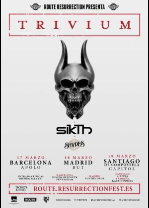 Cartel en baja resolución del Concierto de Trivium en Barcelona